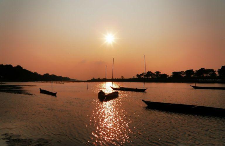 Sunset Landscape Assam India river boat wallpaper