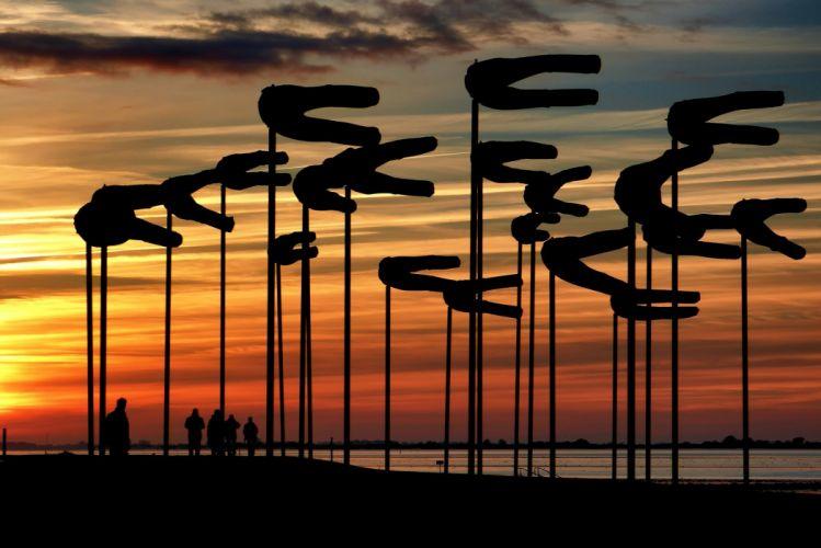 Sunset Wadden Sea Art North Sea wallpaper