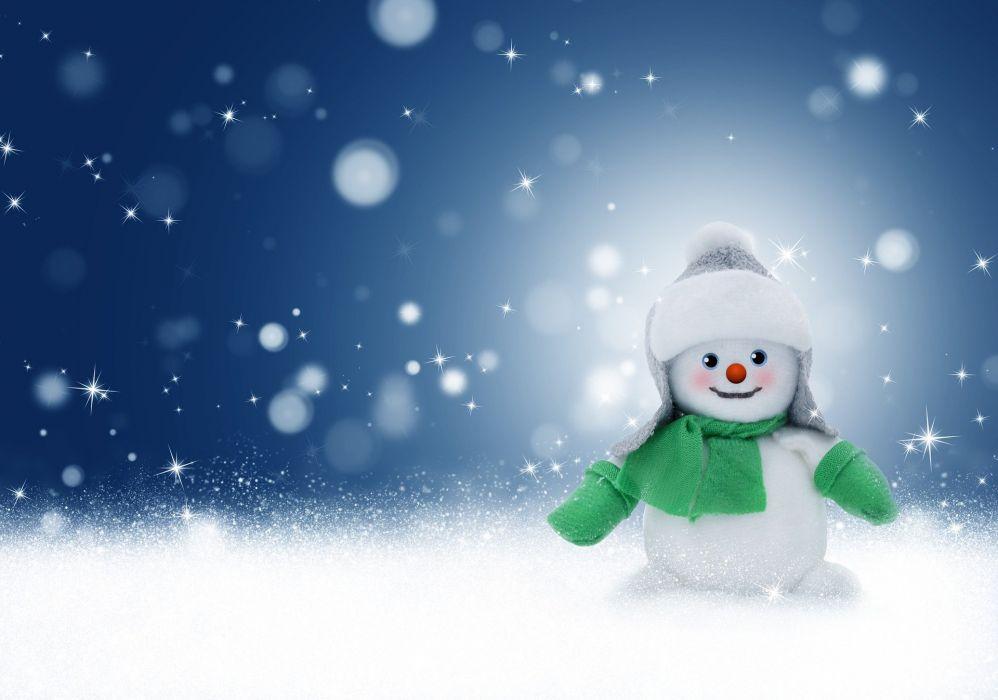 Snowman Snow Winter Christmas Background Card wallpaper