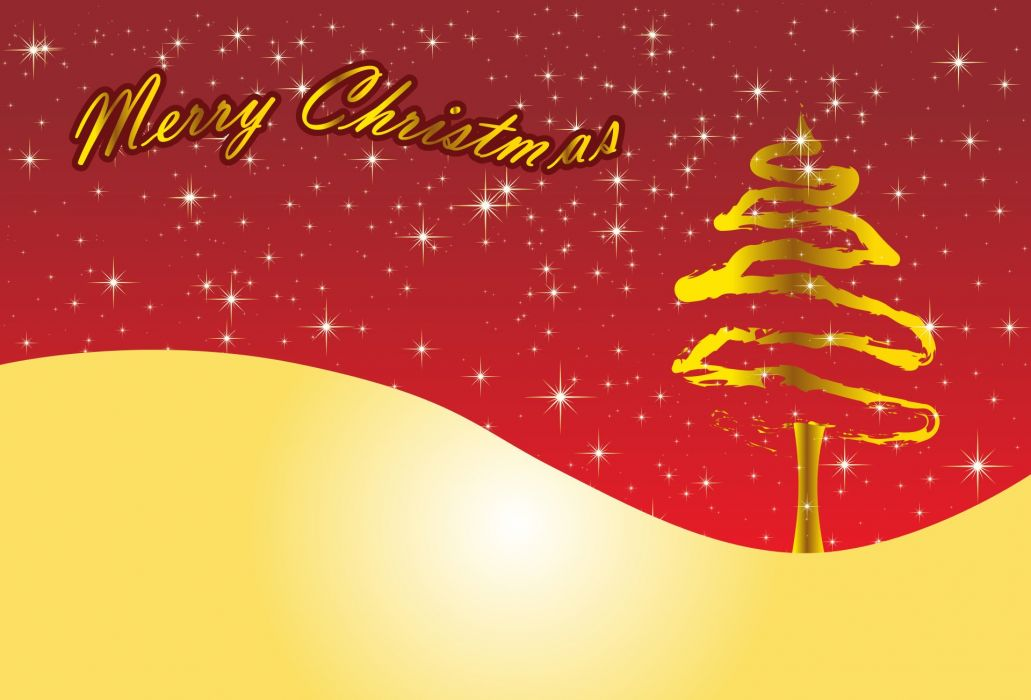 Card Christmas New Year's Eve Red Gold Pine wallpaper