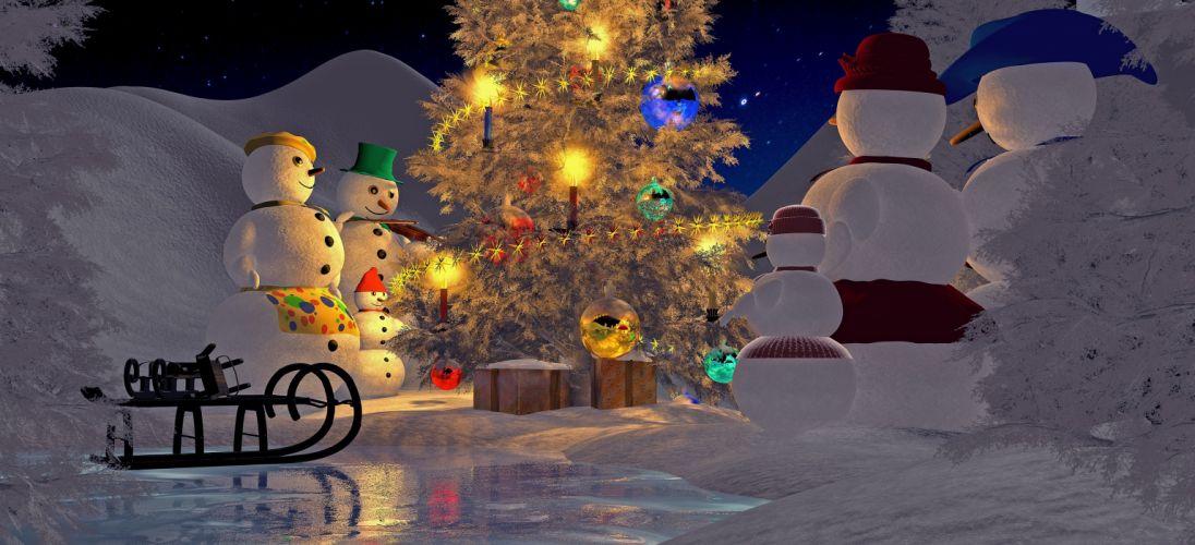 Christmas Christmas Eve Christmas Tree Snowman wallpaper