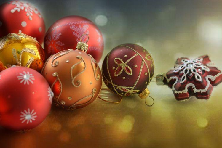 Christmas Red Gold Christmas Balls Star Ball wallpaper