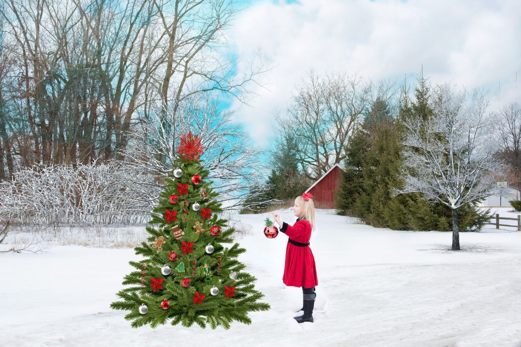 Christmas Red Snow Tree Girl Decoration Holiday wallpaper