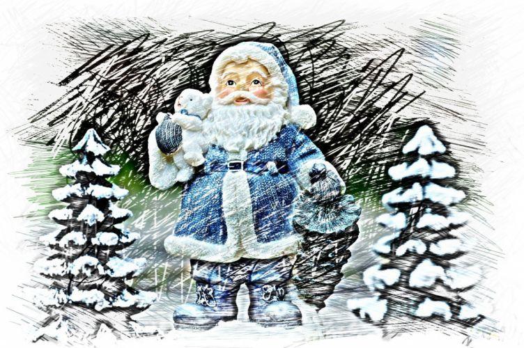 Christmas Santa Claus Drawing Colorful Fig wallpaper