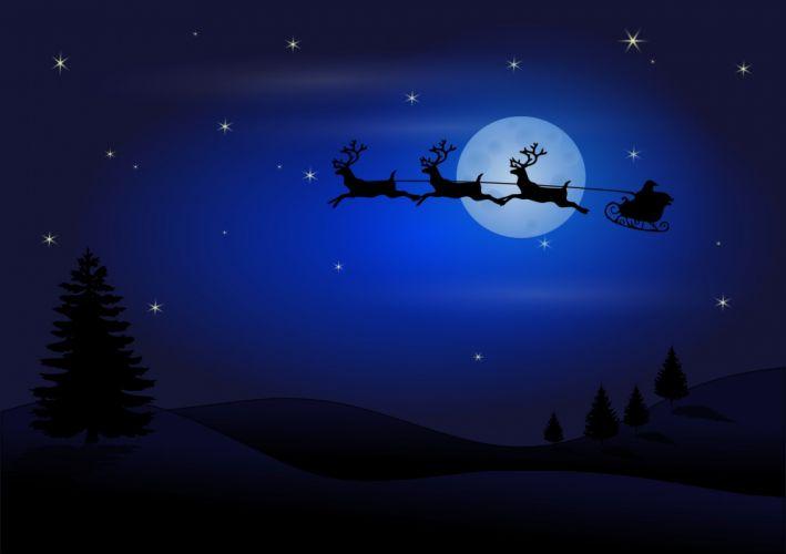 Santa Claus Christmas Reindeer Sledge Flying wallpaper