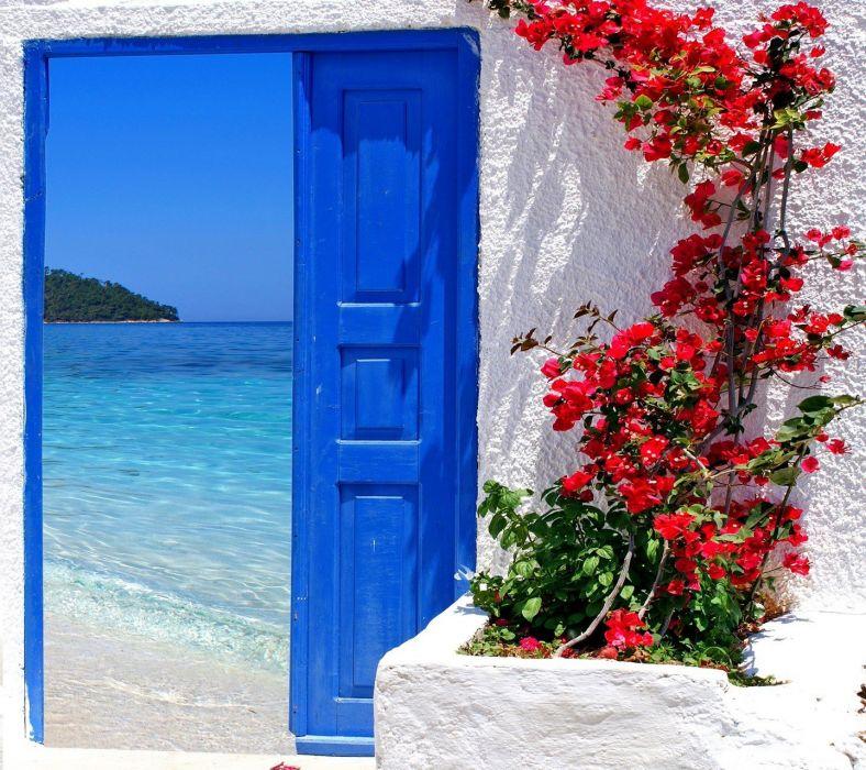 beach flowers blue door summer wallpaper