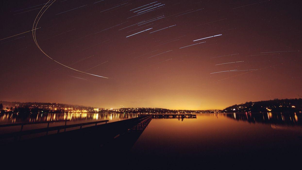 lake stars night light sky wallpaper