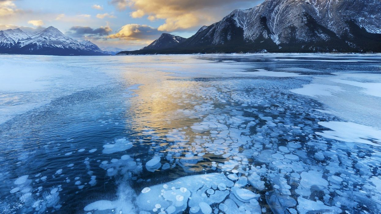 ice lake landscape nature winter mountain wallpaper