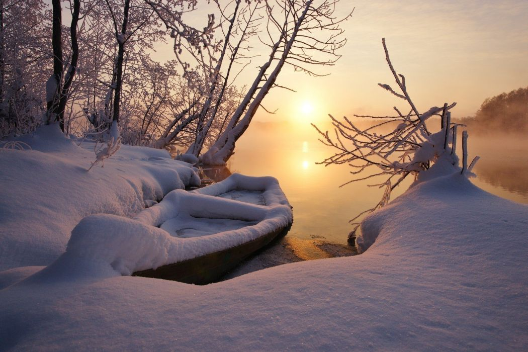 boat Cold Frost lake landscape mist nature snow sunlight sunset Trees winter wallpaper