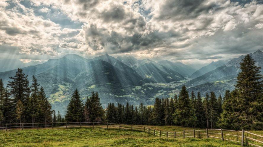 landscape Sun Rays wallpaper