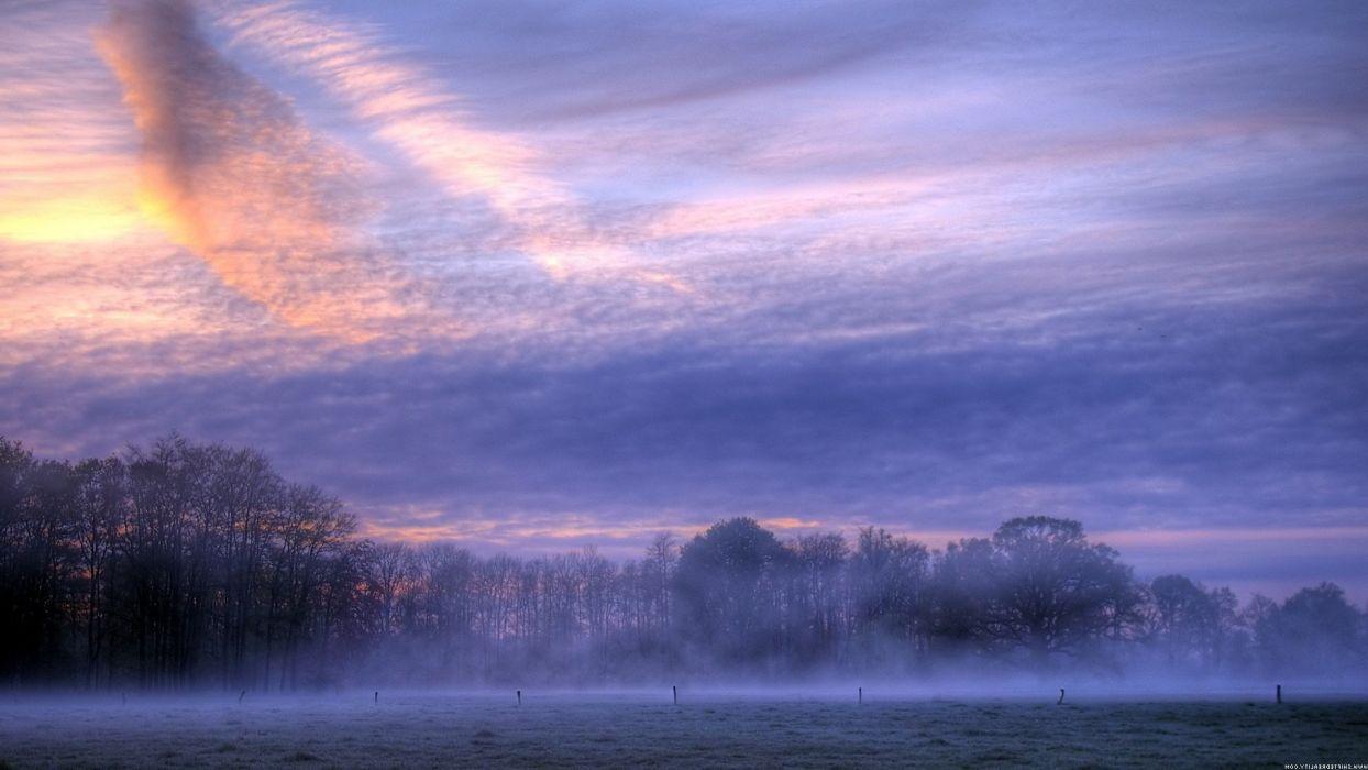 clouds field mist nature sunrise wallpaper