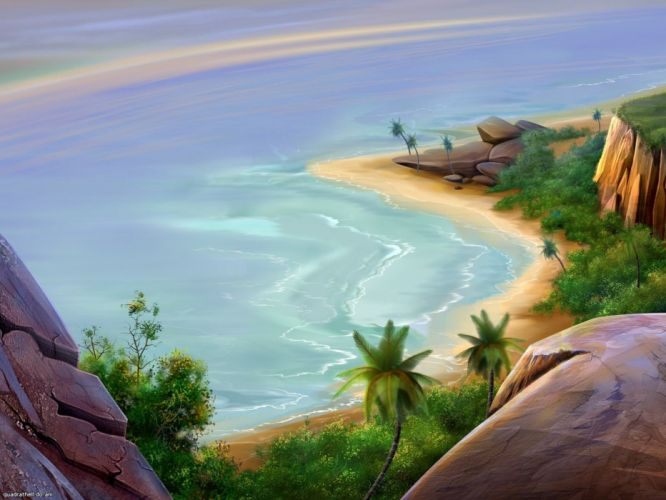 Island ocean sand beach wallpaper