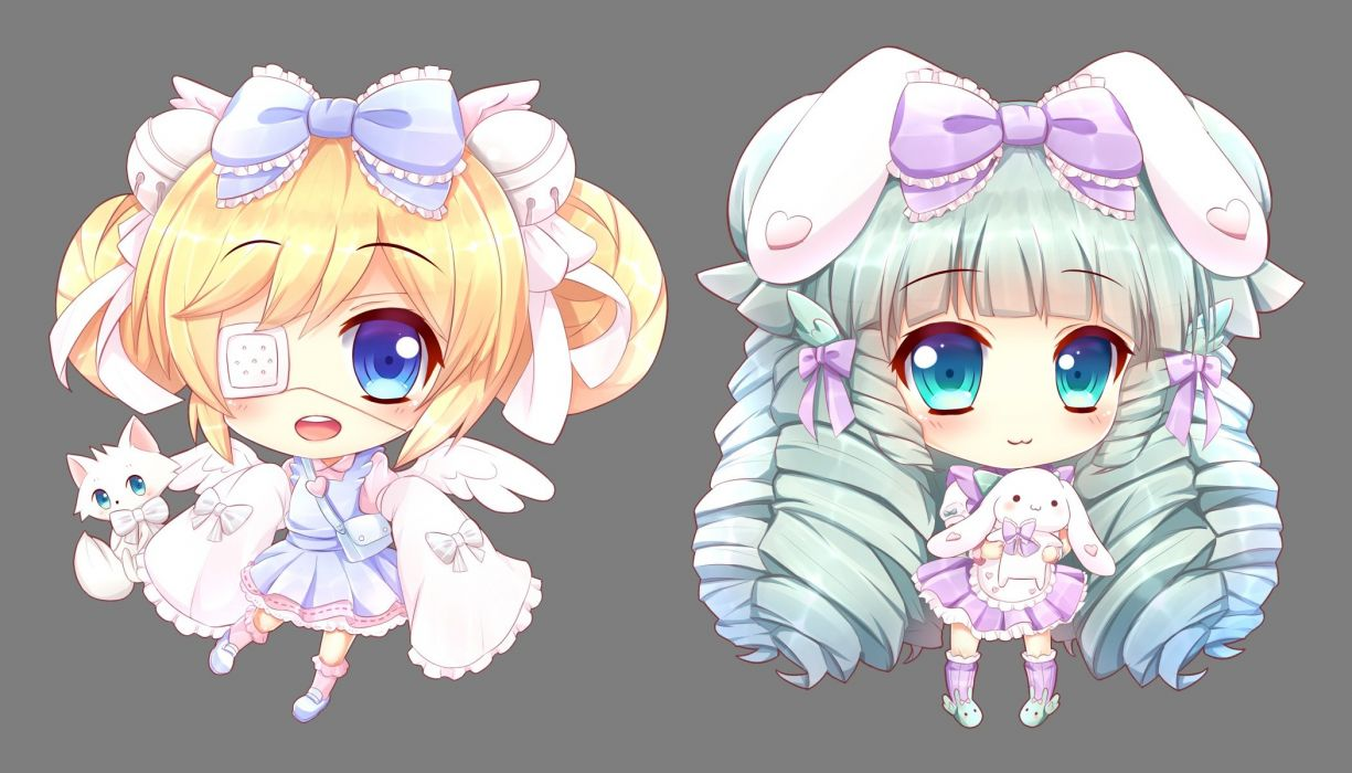 Anime Cat With Wings girls animal bell blue eyes bow bunny cat cat smile chibi