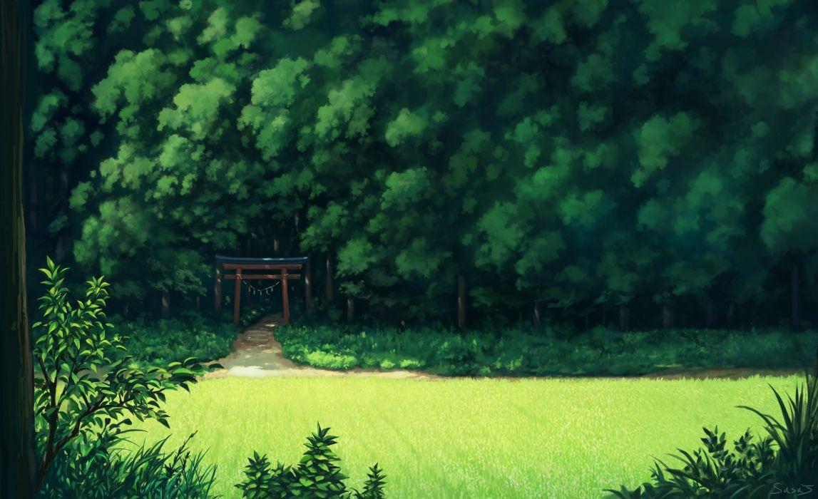 forest grass green landscape nobody original sasajqazwsx scenic torii tree wallpaper