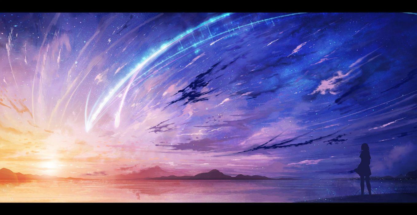 clouds jpeg artifacts kimi no na wa miyamizu mitsuha scenic silhouette sky stars sunset water wallpaper