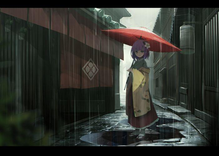 fami (yellow skies) hieda no akyuu purple hair rain touhou umbrella water wallpaper