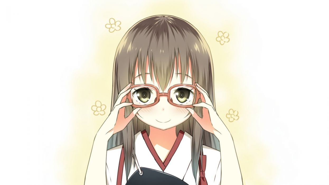 akagi (kancolle) blush brown eyes brown hair glasses kantai collection photoshop sky (freedom) white wallpaper