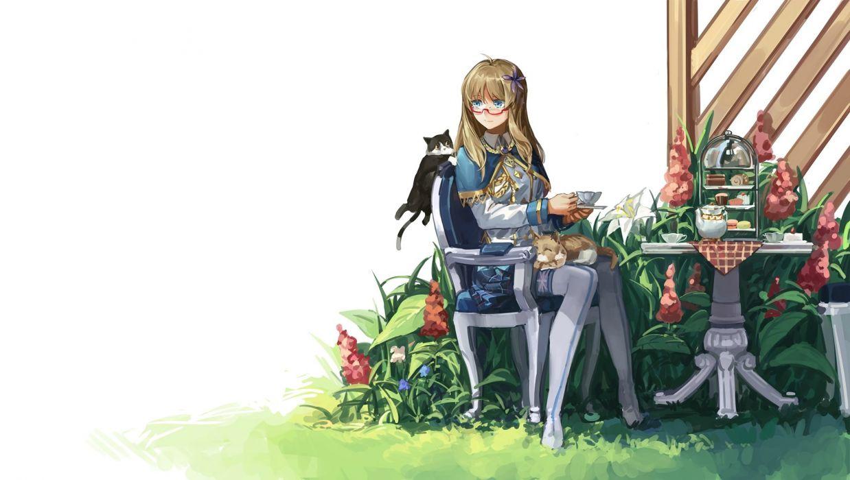 animal blonde hair blue eyes cape cat drink flowers food glasses grass hood rff (3 percent) thighhighs zhanjian shaonu wallpaper
