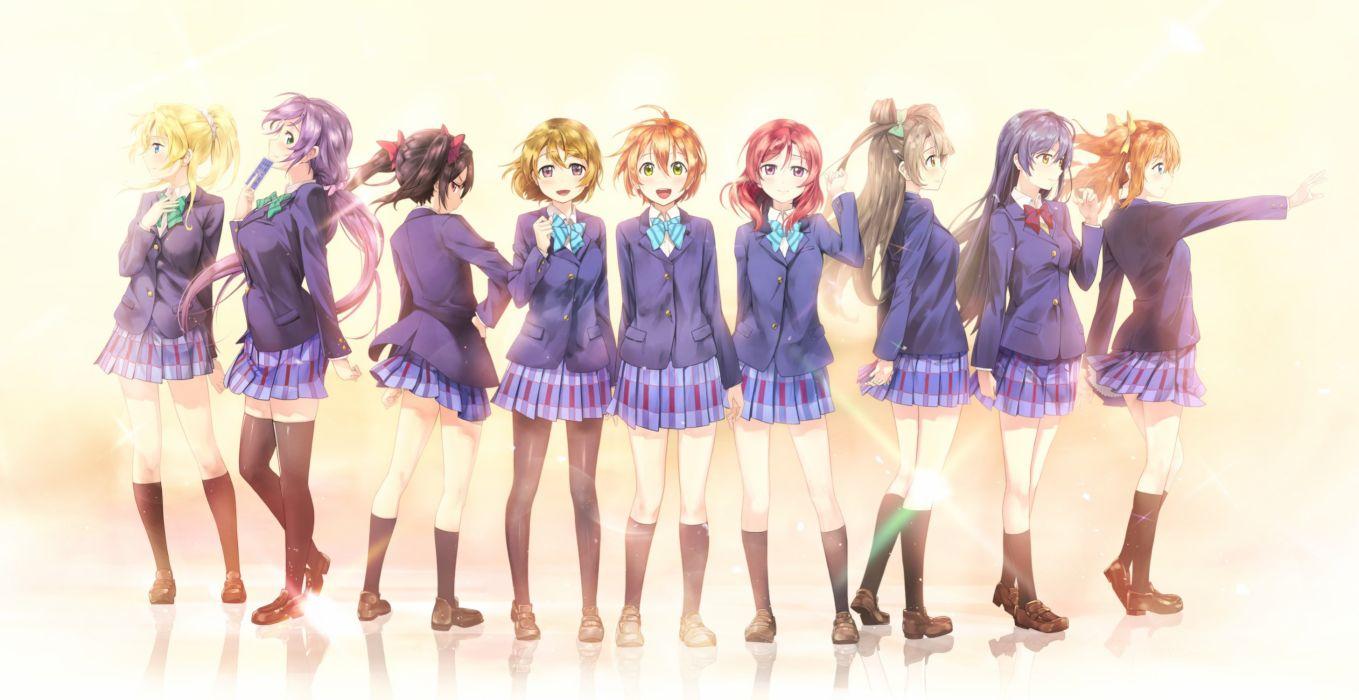 ayase eri group hoshizora rin koizumi hanayo kousaka honoka minami kotori nishikino maki redame seifuku sonoda umi toujou nozomi yazawa nico wallpaper