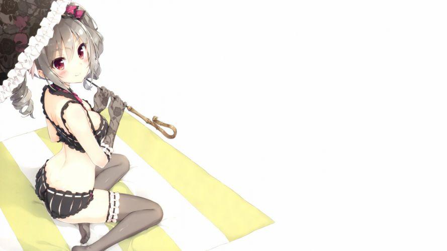 bra goth-loli idolmaster idolmaster cinderella girls kanzaki ranko lolita fashion panties peko photoshop scan thighhighs umbrella underwear white wallpaper
