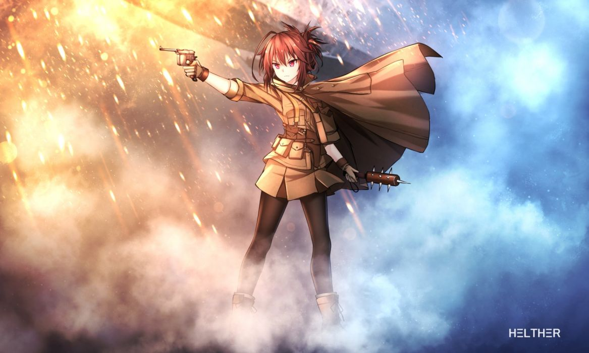 battlefield (series) boots brown hair gloves gun helther military original pantyhose red eyes uniform weapon wallpaper