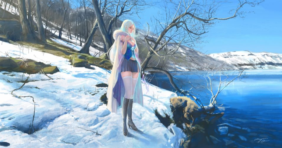 boots breasts cleavage game cg long hair original signed skirt snow thighhighs tree water wayne chan wallpaper