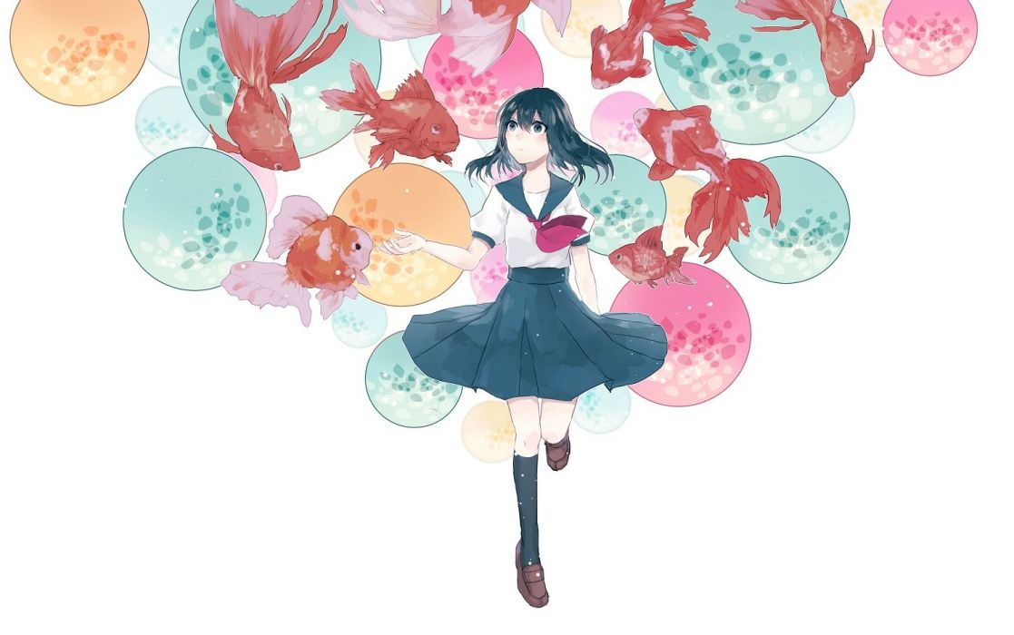 aliasing animal black eyes black hair fish kneehighs original seifuku short hair tagme (artist) white wallpaper