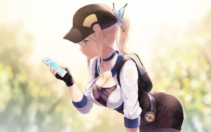 blonde hair blue eyes breasts cait cleavage cosplay crossover dress gloves hat kashiwazaki sena phone pokemon ponytail wet wallpaper