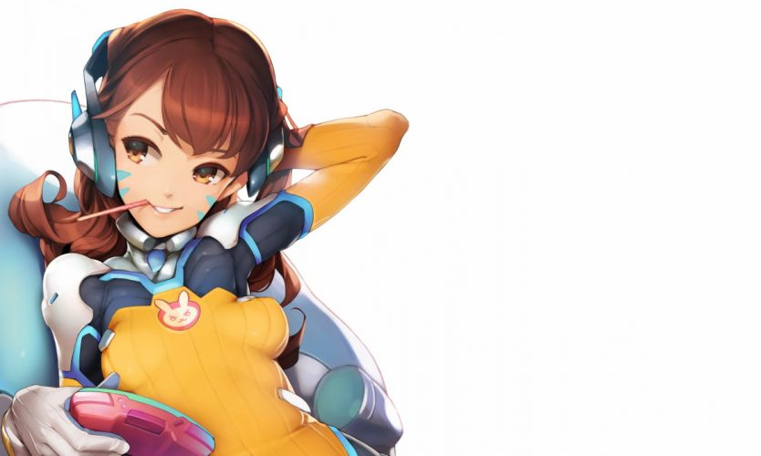ataruman bodysuit breasts brown eyes brown hair cropped d va food game console gloves headphones long hair overwatch pocky skintight tattoo white wallpaper