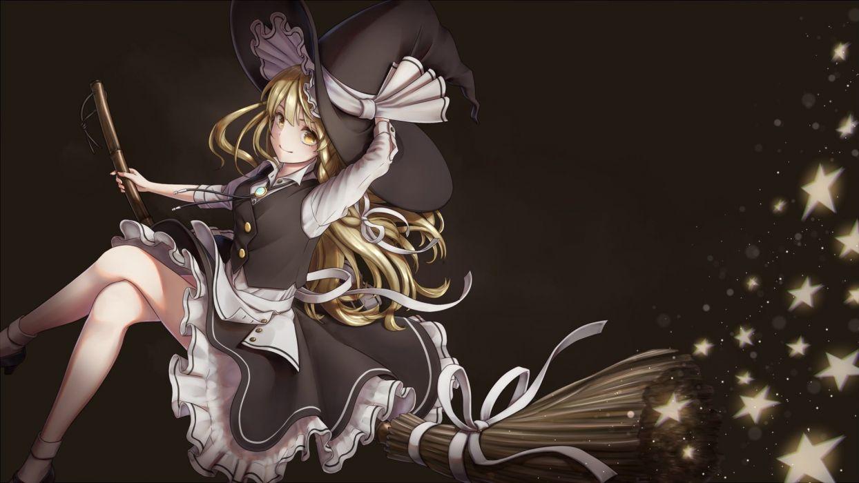apron blonde hair braids dtvisu kirisame marisa long hair ribbons skirt stars touhou witch yellow eyes wallpaper