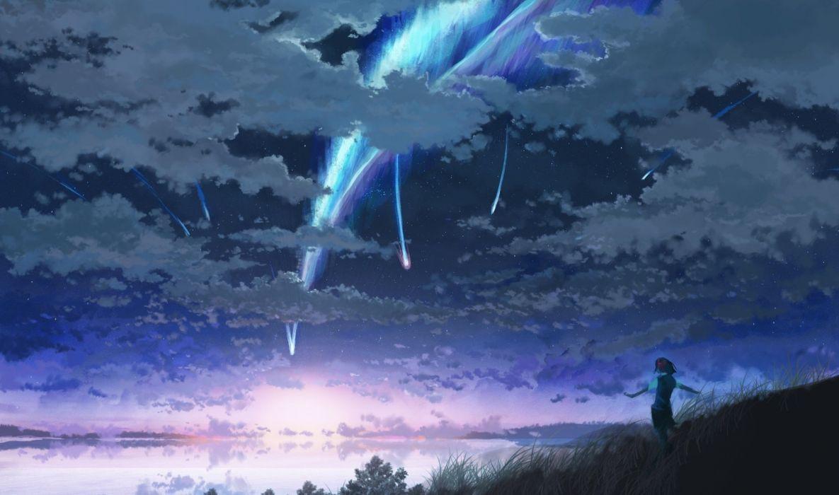 clouds grass kimi no na wa landscape miyamizu mitsuha scenic seifuku short hair sky sorakuma (oycue41) water wallpaper