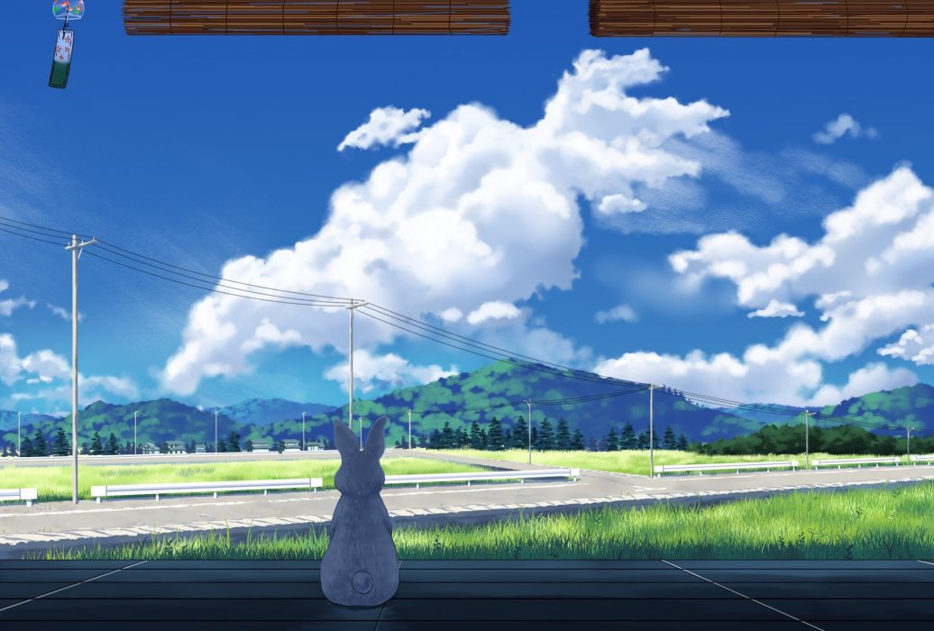 animal building clouds grass jpeg artifacts landscape original rabbit scenic sky tree yun (maxforse) wallpaper