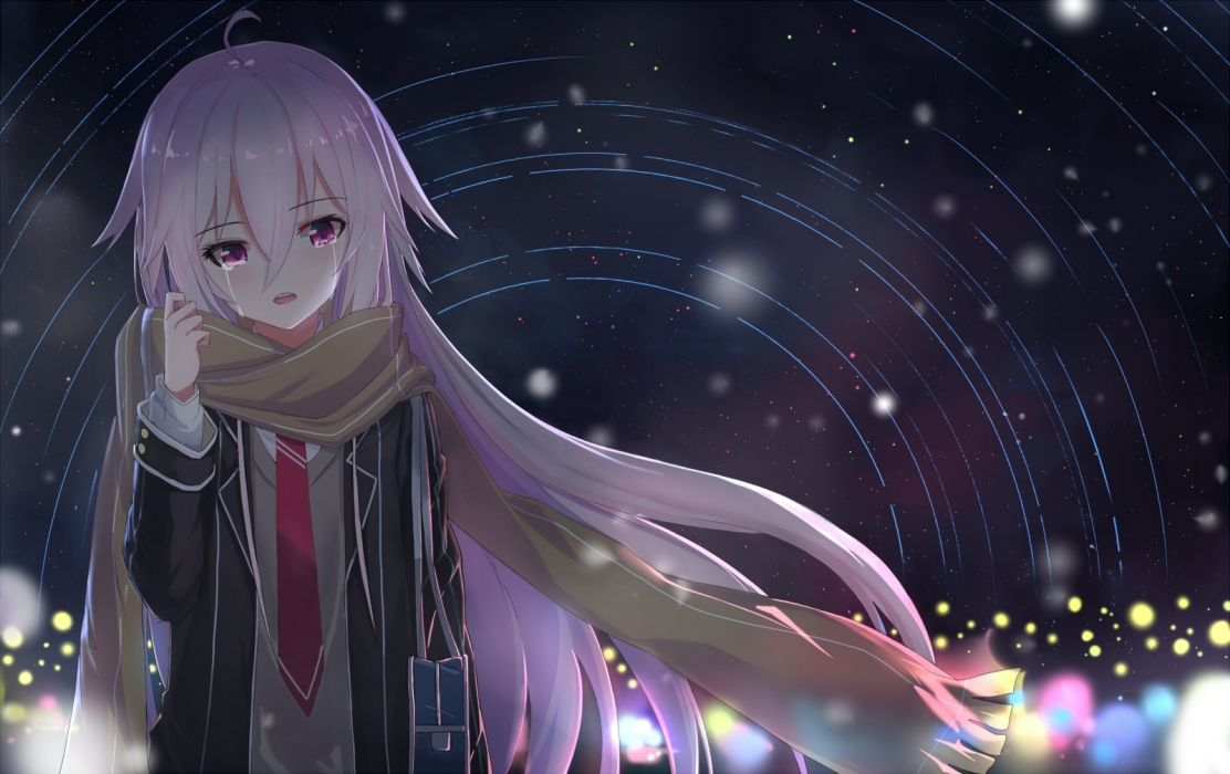 crying ia long hair night pink eyes pink hair scarf seifuku stars tears tie vocaloid warg wallpaper