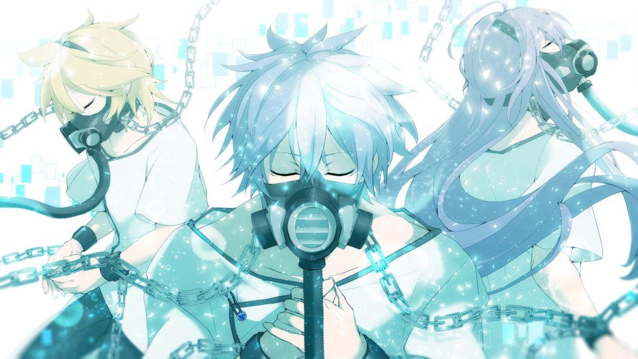 chain kagamine len kaito kamui gakupo long hair male mask short hair tagme (artist) vocaloid wallpaper