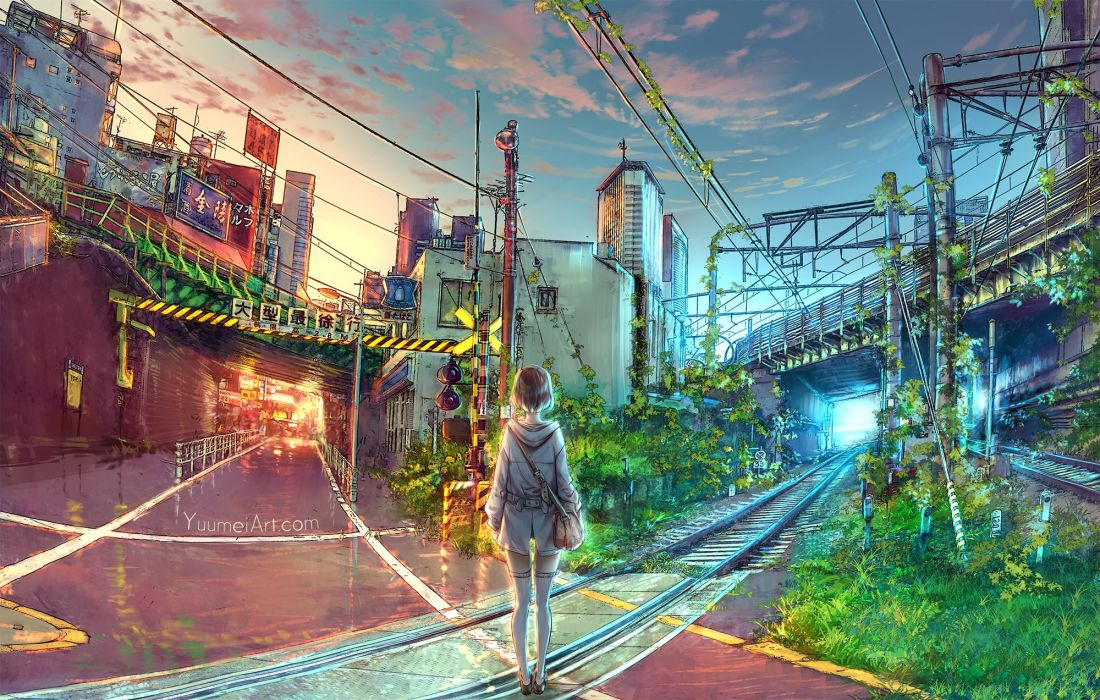 building city grass leaves original sunset thighhighs train watermark wenqing yan (yuumei art) zettai ryouiki wallpaper