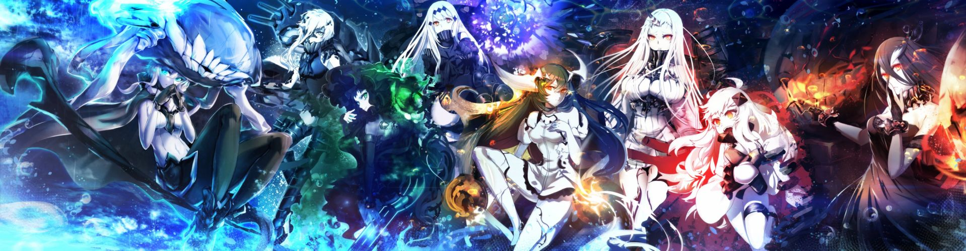 battleship water oni cibo (killy) dualscreen isolated island oni kantai collection northern ocean hime seaport hime tagme (character) wallpaper