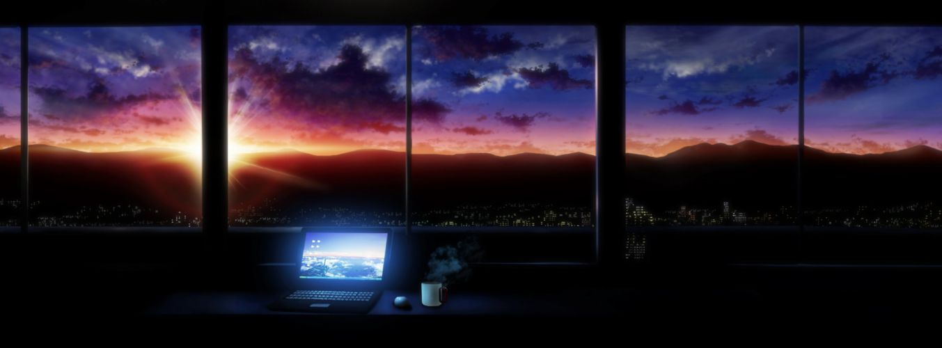 building city clouds computer drink dualscreen original scenic sky sunset tokuninashi (uorat) wallpaper