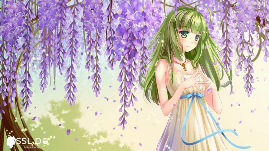 aliasing blush dress green eyes green hair long hair manatsu riko original petals ribbons wallpaper