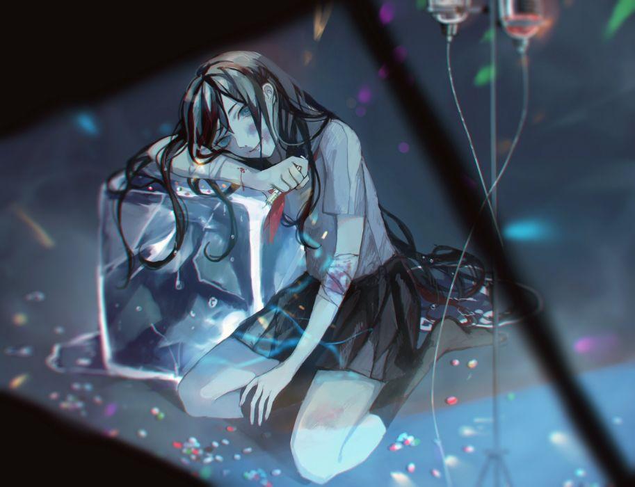 black hair blood blue eyes long hair seifuku tagme wallpaper