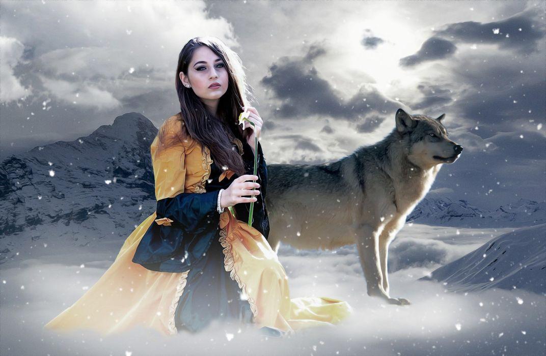 Gothic Fantasy Female Lady Mystery Winter wallpaper