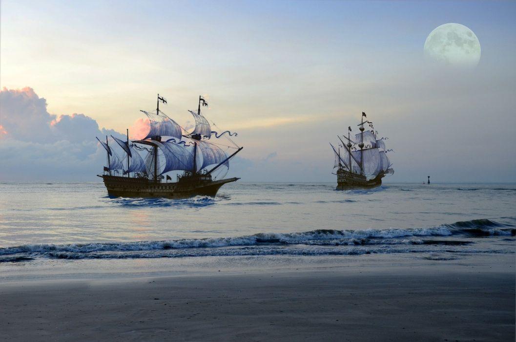 Pirate Ship Sea Moon Fantasy Ocean Sail Boat wallpaper