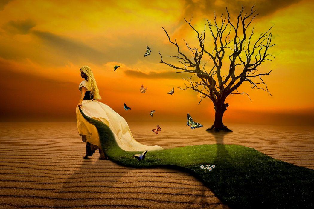 Woman Dune Sand Tree Butterflies Grass Sunset mood art artistic manipulation wallpaper