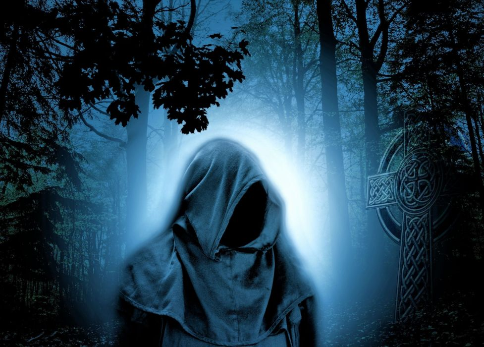 Forest Magician Night Atmosphere Fairy Tales reaper gothic wallpaper