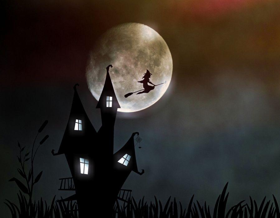 Witch Moonlight Creepy Halloween wallpaper