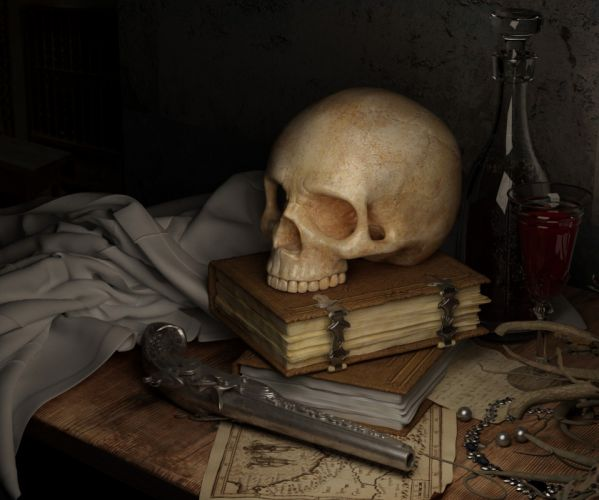 Skull Dark Map Book Gun Still Life wallpaper