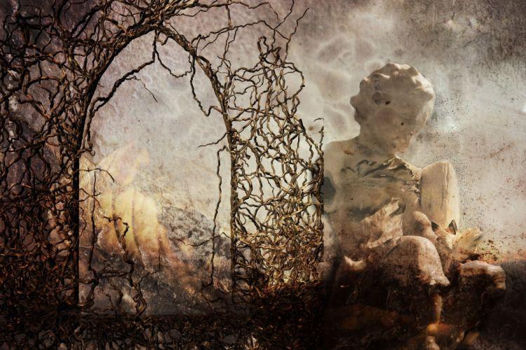 Fantasy Devastation Angel Fire Dark Surreal wallpaper