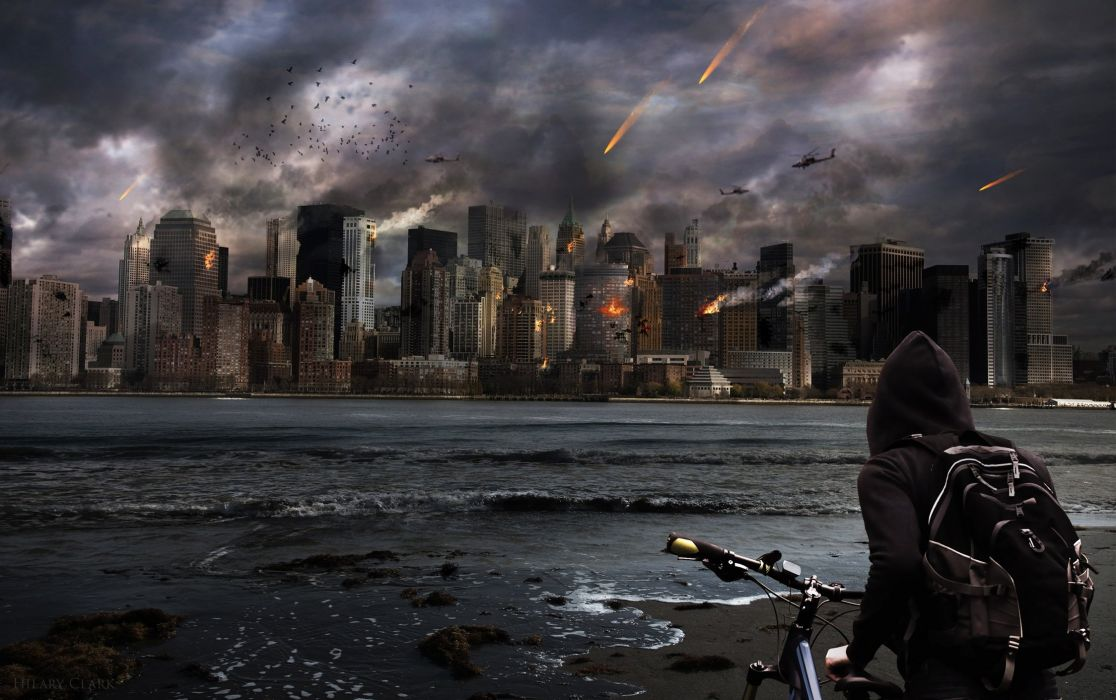 Dark Spooky Scary Man Fear Dark apocalyptic city wallpaper