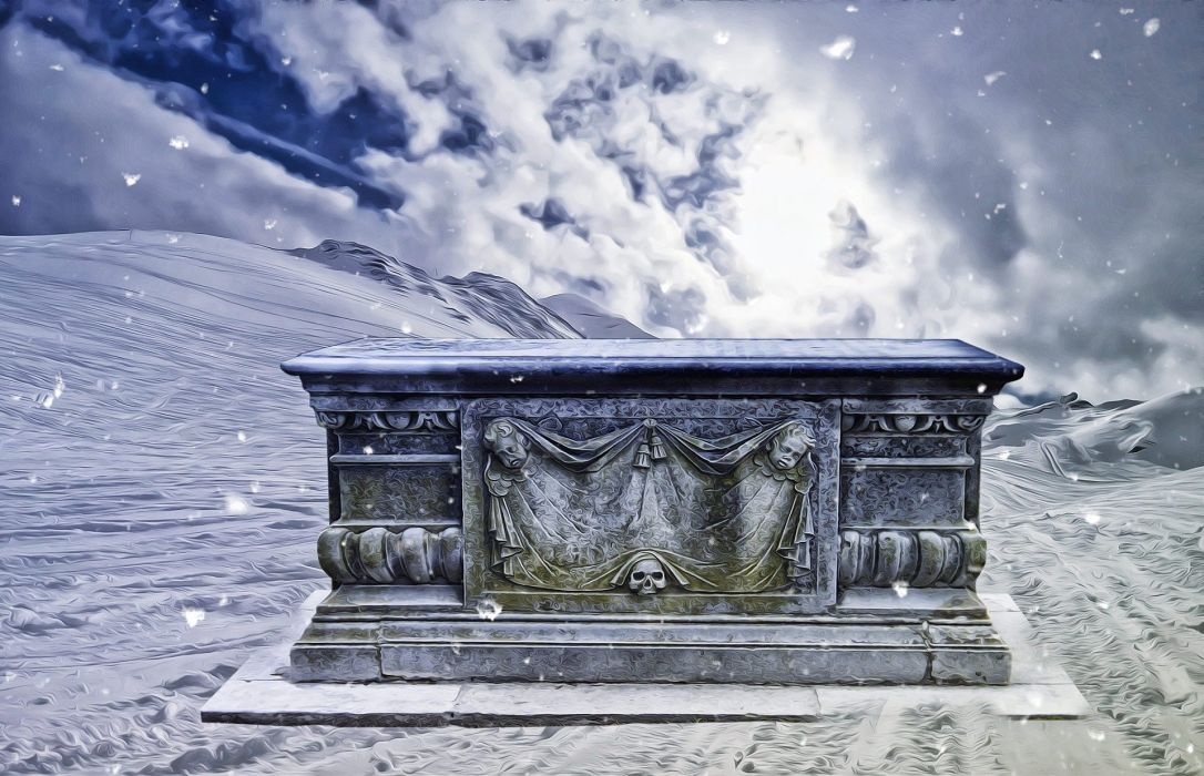 Fantasy Dark Tomb Snow Gothic Landscape wallpaper