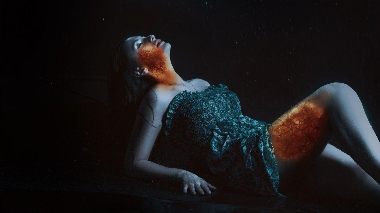 Model Hot Sexy Horror Fire Demon Girl Gothic Wallpaper