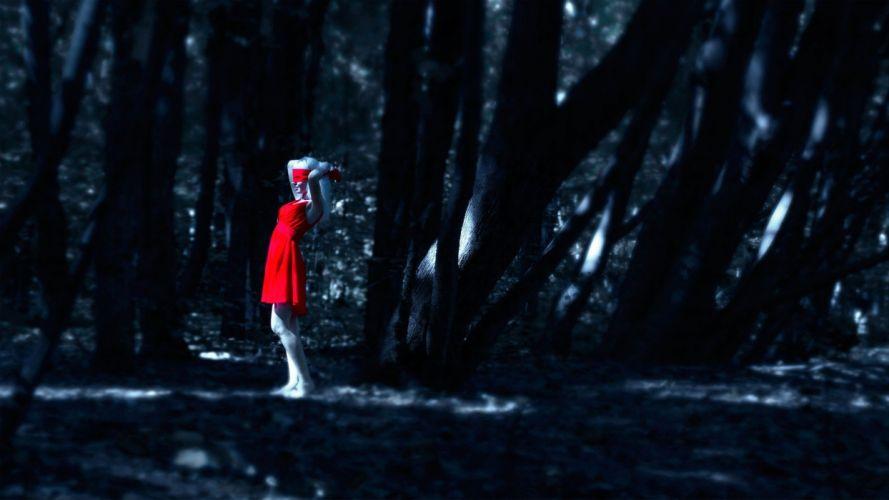 red riding hood red dark gothic women girl forest wallpaper
